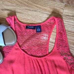 Tops - ✨ Coral High Low tank with crochet detailing ✨